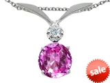 Tommaso Design™ Round 7mm Created Pink Sapphire and Genuine Diamond Pendant