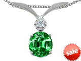 Tommaso Design™ Round 7mm Simulated Emerald and Genuine Diamond Pendant