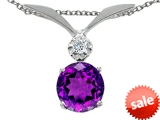 Tommaso Design™ Round 7mm Genuine Amethyst and Diamond Pendant