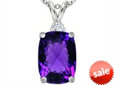 Original Star K™ Large 14x10mm Cushion Cut Simulated Amethyst Pendant style: 307439