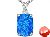 Original Star K™ Large 14x10mm Cushion Cut Created Blue Opal Pendant