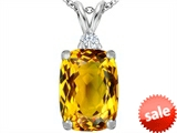 Original Star K™ Large 14x10mm Cushion Cut Simulated Citrine Pendant style: 307444