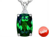 Original Star K™ Large 14x10mm Cushion Cut Simulated Emerald Pendant style: 307445
