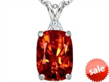 Original Star K™ Large 14x10mm Cushion Cut Simulated Orange Mexican Fire Opal Pendant style: 307446