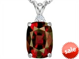 Original Star K™ Large 14x10mm Cushion Cut Simulated Garnet Pendant