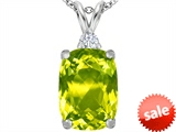 Original Star K™ Large 14x10mm Cushion Cut Simulated Peridot Pendant style: 307448