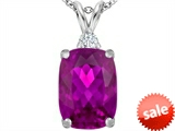 Original Star K™ Large 14x10mm Cushion Cut Created Pink Sapphire Pendant