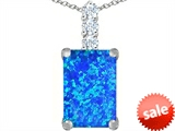Original Star K™ Large 14x10mm Emerald Cut Created Blue Opal Pendant