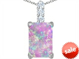 Original Star K™ Large 14x10mm Emerald Cut Created Pink Opal Pendant style: 307457