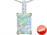 Original Star K™ Large 14x10mm Emerald Cut Created Opal Pendant style: 307458