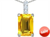 Original Star K™ Large 14x10mm Emerald Cut Simulated Citrine Pendant style: 307459