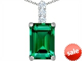 Original Star K™ Large 14x10mm Emerald Cut Simulated Emerald Pendant style: 307460
