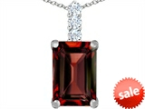 Original Star K™ Large 14x10mm Emerald Cut Simulated Garnet Pendant