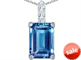 Original Star K™ Large 14x10mm Emerald Cut Simulated Aquamarine Pendant style: 307462