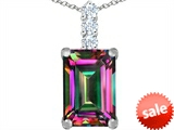 Original Star K™ Large 14x10mm Emerald Cut Rainbow Mystic Topaz Pendant style: 307463