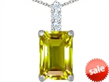Original Star K™ Large 14x10mm Emerald Cut Simulated Peridot Pendant