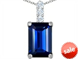 Original Star K™ Large 14x10mm Emerald Cut Created Sapphire Pendant