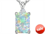 Original Star K™ Large 14x10mm Emerald Cut Created Opal Pendant style: 307473