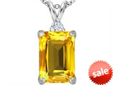 Original Star K™ Large 14x10mm Emerald Cut Simulated Citrine Pendant style: 307474