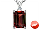 Original Star K™ Large 14x10mm Emerald Cut Simulated Garnet Pendant style: 307476