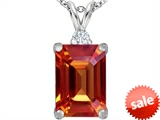 Original Star K™ Large 14x10mm Emerald Cut Simulated Orange Mexican Fire Opal Pendant style: 307478