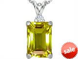 Original Star K™ Large 14x10mm Emerald Cut Simulated Peridot Pendant style: 307479