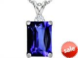 Original Star K™ Large 14x10mm Emerald Cut Simulated Tanzanite Pendant