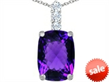 Original Star K™ Large 14x10mm Cushion Cut Simulated Amethyst Pendant style: 307485
