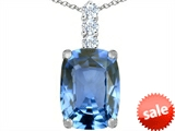 Original Star K™ Large 14x10mm Cushion Cut Simulated Aquamarine Pendant style: 307486