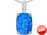 Original Star K™ Large 14x10mm Cushion Cut Created Blue Opal Pendant style: 307487
