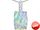Original Star K™ Large 14x10mm Cushion Cut Created Opal Pendant