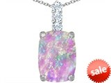 Original Star K™ Large 14x10mm Cushion Cut Created Pink Opal Pendant