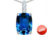 Original Star K™ Large 14x10mm Cushion Cut Simulated Blue Topaz Pendant