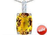 Original Star K™ Large 14x10mm Cushion Cut Simulated Citrine Pendant