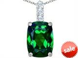 Original Star K™ Large 14x10mm Cushion Cut Simulated Emerald Pendant style: 307492