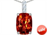 Original Star K™ Large 14x10mm Cushion Cut Simulated Orange Mexican Fire Opal Pendant