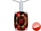Original Star K™ Large 14x10mm Cushion Cut Simulated Garnet Pendant style: 307494