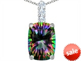 Original Star K™ Large 14x10mm Cushion Cut Rainbow Mystic Topaz Pendant style: 307496