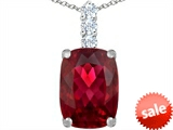 Original Star K™ Large 14x10mm Cushion Cut Created Ruby Pendant style: 307498
