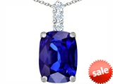 Original Star K™ Large 14x10mm Cushion Cut Simulated Tanzanite Pendant style: 307499