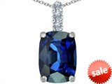 Original Star K™ Large 14x10mm Cushion Cut Created Sapphire Pendant