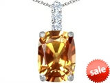Original Star K™ Large 14x10mm Cushion Cut Simulated Imperial Yellow Topaz Pendant style: 307501