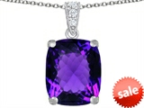 Original Star K™ Large 12x10mm Cushion Cut Simulated Amethyst Pendant style: 307502