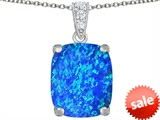 Original Star K™ Large 12x10mm Cushion Cut Created Blue Opal Pendant style: 307503