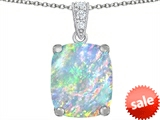 Original Star K™ Large 12x10mm Cushion Cut Created Opal Pendant