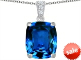 Original Star K™ Large 12x10mm Cushion Cut Simulated Blue Topaz Pendant style: 307505