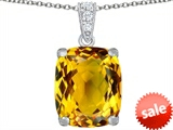 Original Star K™ Large 12x10mm Cushion Cut Simulated Citrine Pendant