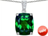 Original Star K™ Large 12x10mm Cushion Cut Simulated Emerald Pendant style: 307507