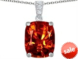 Original Star K™ Large 12x10mm Cushion Cut Simulated Orange Mexican Fire Opal Pendant