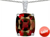 Original Star K™ Large 12x10mm Cushion Cut Simulated Garnet Pendant style: 307509